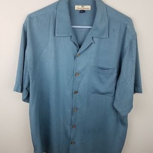 Tommy Bahama Medium Blue Hawaiian Shirt 100% Silk